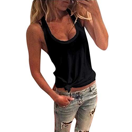 Botrong Womens Tops, Summer O Neck Solid Sleeveless Shirt Casual Tank Tops Blouse (Black,M)