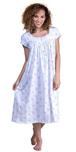 Eileen West Jersey Knit Ballet Nightgown, XL, White Floral -