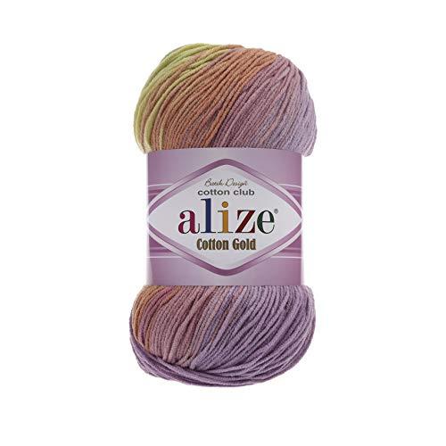 55% Cotton 45% Acrylic Yarn Alize Cotton Gold Batik Thread Crochet Hand Knitting Yarn Arts Crafts Lot of 4skn 400 gr 1444 yds Color Gradient 3304