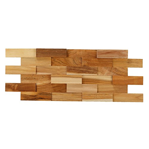 Bare Decor EZ-Wall Brick 3D Pattern Tile in Solid Teak Wood, Set of 10 Natural Finish (Teak Panel)