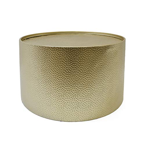 Christopher Knight Home Rache Modern Round Coffee Table with Hammered Iron, Gold, 26. 00