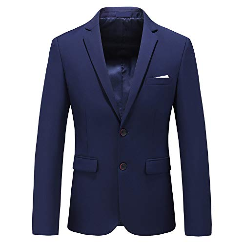 Mens Casual Two Button Single Breasted Suit Jacket Modern Wedding Tux Blazer US Size 44 (Label Size 6XL) Navy Blue ()