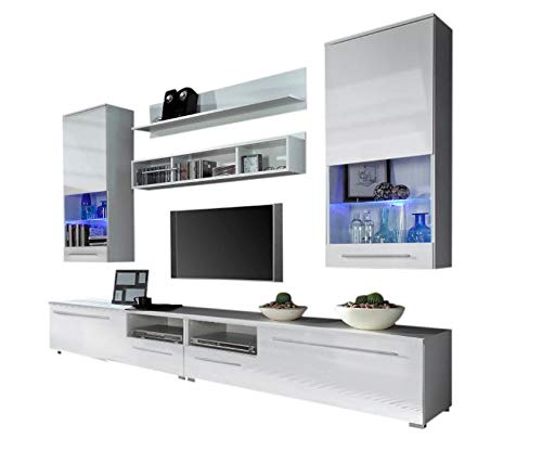 Gloss Wall Unit - Domovero Kansas Wall Unit for any size TV/Contemporary Furniture for Living Room/Entertainment Center with multicolor LED lights system Color white & white