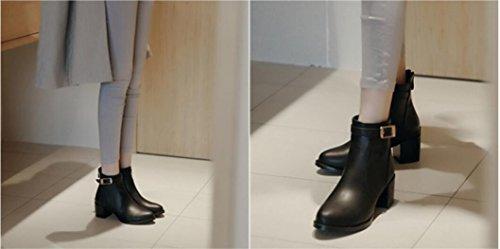 Otoño y botas de invierno mujer ronda cabeza baja talón hebilla botas botas de caballero black