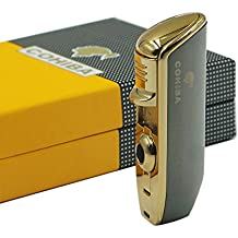 Promotion COHIBA Metal 3 TORCH JET FLAME CIGAR Cigarette LIGHTER WITH PUNCH (Dark gray)
