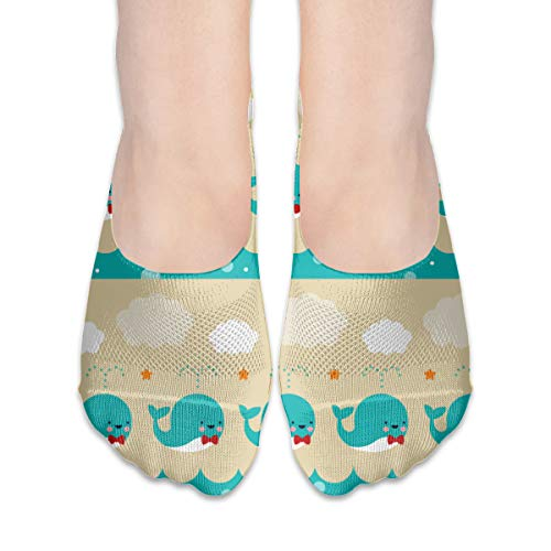 Whale Squirts Invisible No See Show Socks Ankle Low Cut Footies Showless Hidden O Male Mens Youth Boys Teen Kid Themed Party Clothes Dresses Apparel Ankle ()