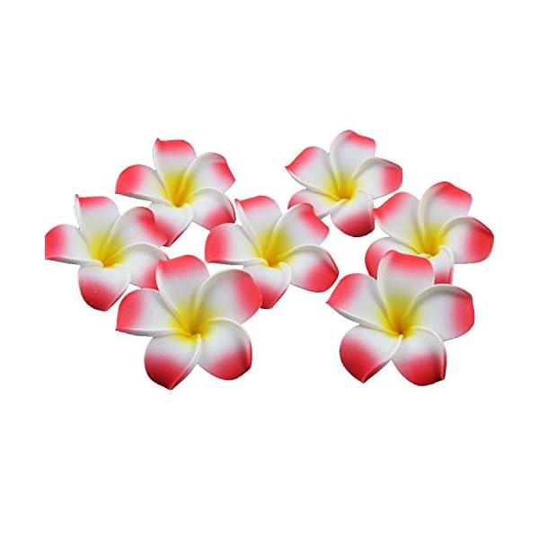 Ewandastore 100 Pcs Diameter 2.4 Inch Artificial Plumeria Rubra Hawaiian Foam Frangipani Flower Petals for Weddings Party Decoration(Red)