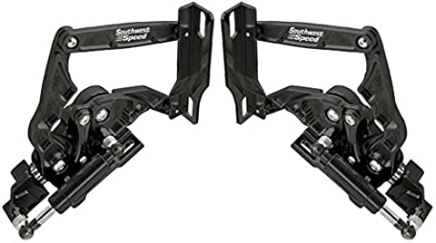 NEW SOUTHWEST SPEED BLACK ANODIZED BILLET ALUMINUM SOLID FRAME HOOD HINGES WITH GAS SPRINGS FOR 1957 CHEVY WITH STEEL HOODS, PRECISION MACHINED, TRI-5 BEL AIR NOMAD 150 210 SEDAN DELIVERY