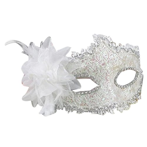 [HOVEOX Lace Mask Women's Flower Party Masquerade Eyemask White] (Party City Costume Fashion Masks Masquerade)