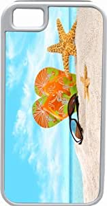 Rikki KnightTM Orange Green Flip-Flops In The Sand With Starfish White Tough-It Case Cover for iPhone 4 & 4s (Double Layer case with Silicone Protection) by mcsharks