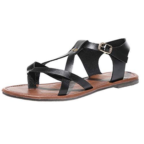 - COOlCCI_2019 Women's Flat Sandal Criss-Cross Open Toe Wide Elastic Strap Fashion Summer Shoes Slippers Black