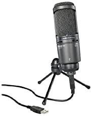 Audio-Technica AT2020USB+ Cardioid Condenser USB Microphone, With Built-In Headphone Jack & Volume Control