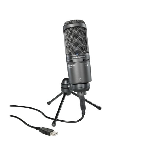 - Audio-Technica AT2020USB PLUS Cardioid Condenser USB Microphone, Black