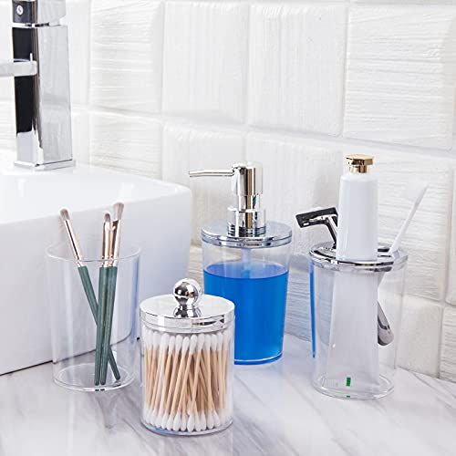 Bathroom Accessories Set, Plastic Bathroom Decor Sets Accessories Complete Includes Soap Dispenser & Toothbrush Holder & Qtip Holder & Toothbrush Cup - Clear/Silver - 4 Pieces