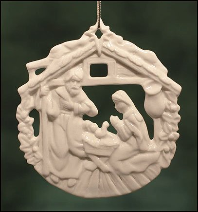 Round Holy Family in Manger 3-inch Nativity Christmas Ornament by CB