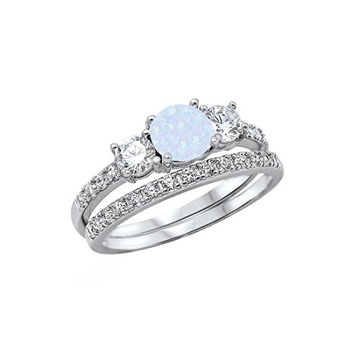 Set Wedding Blue Opal - Blue Apple Co. 3-Stone Wedding Bridal Set Ring Band Round Created Opal CZ 925 Sterling Silver, Size-9