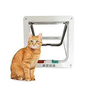 Mifauna Puerta para Gatos y Perros pequeños Gatera Talla L con Bloqueo 4 Posiciones Blanca Cierre automático mágnetico