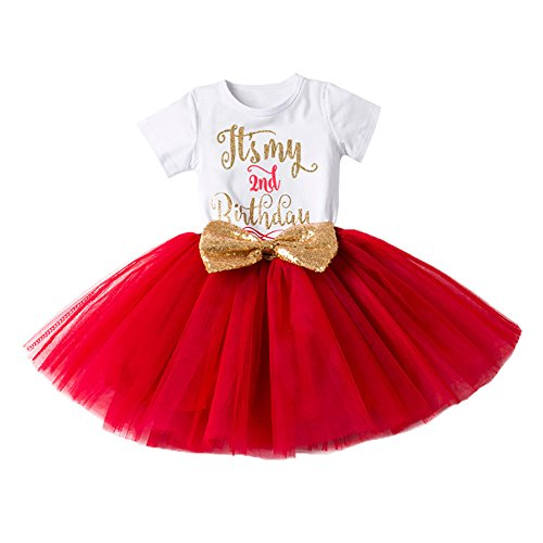IBTOM CASTLE Girl Newborn It's My 1st/2nd Birthday Shinny Printed Tutu Princess Dress Outfit Set Red (2 - And Printed Skirt Embellished