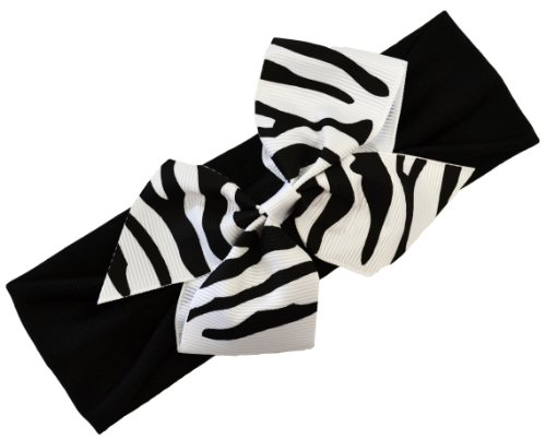 Zebra Print Baby Headband (Zebra Bow on Black (Zebra Print Baby)