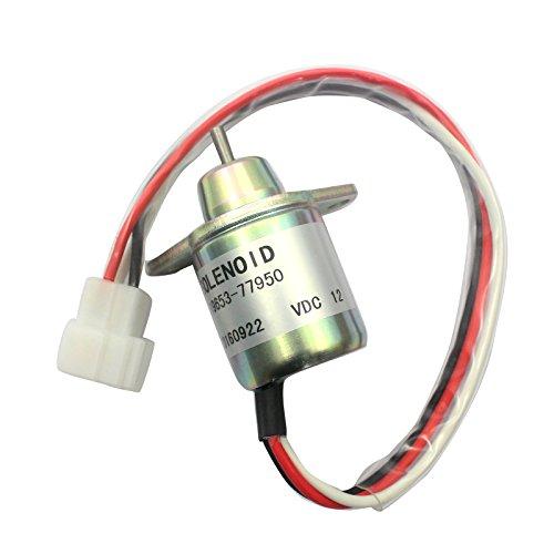 (119653-77950 M806808 12V Fuel Cut Off Solenoid - SINOCMP Shut Off Solenoid For Yanmar Woodward 4TNV94L-SFN Parts, 3 Month Warranty)