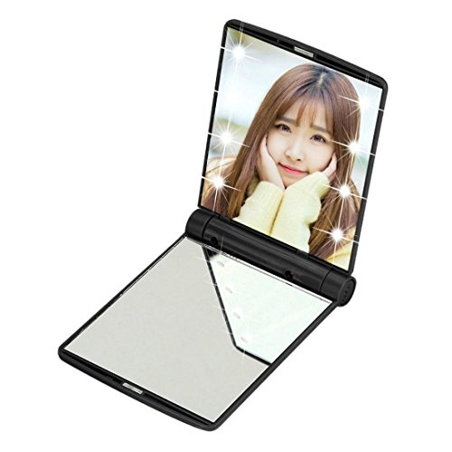 Pocket Makeup Mirror With LED Light (Black) - 5