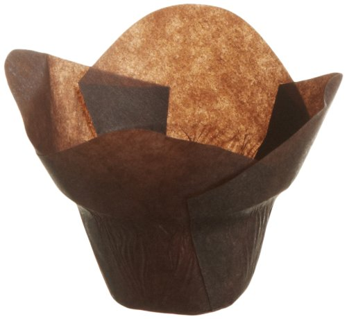 Hoffmaster 611111 Lotus Cup Cupcake Wrapper/Baking Cup, 1-1/4'' Diameter x 2-1/4'' Height, Small, Chocolate (10 Packs of 250)