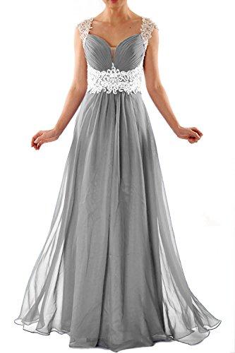 MACloth Women Cap Sleeve Lace Chiffon Long Prom Dress Wedding Party Formal  Gown Plateado