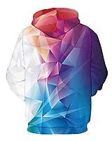 GLUDEAR Unisex Harajuku 3D Galaxy Print Long Sleeve Pullover Hoodie Hooded Sweatshirt,Colorful Geometric,S/M