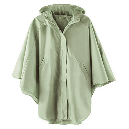 (Rain Poncho Jacket Coat Hooded for Adults with Pockets (Green))