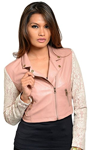 Simplicity Moto Jacket Coat with Long Lace Sleeves, Pu/Faux Leather, Pink, S