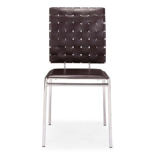 (Zuo Modern 333010 Criss Cross Espresso Dining Chair, Has leatherette back straps and a flat seat with a chrome steel tube frame, 250 lbs. weight capacity, Dimensions 17