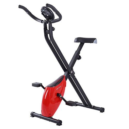 Folding Upright Exercise Bike, Indoor Cycling Bike-Seat Height Adjustable, 5 tension levels, Calories Tracking (RED)