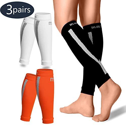 Calf Compression Sleeves Men & Women(3 Pairs) - Best Footless Compression Socks Shin Splints, Running, Leg Pain, Nurses & Maternity Pregnancy(20-30mmhg) - Increase Blood Circulation(3pack-S/M)