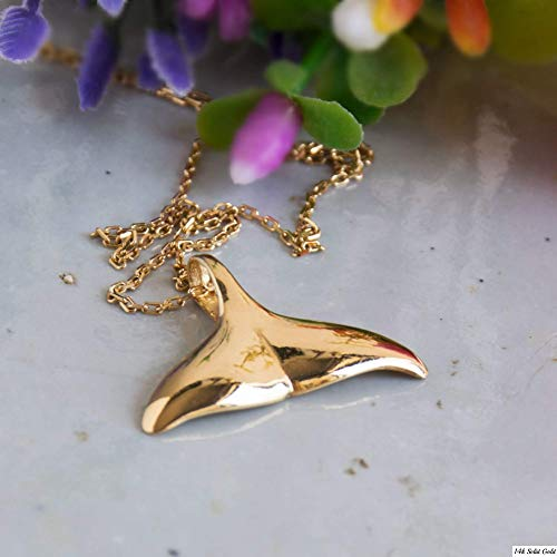 Whale Tail Necklace - 14K Gold Plated over 925 Sterling Silver, Whale Fin Hawaiian Pendant, Surfing Ocean Nautical Beach Wave Surfers Simple Minimalist Handmade Jewelry for Women