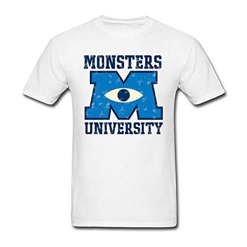 LSLEEVE Men's Authentic Disney Monsters University Collegiate Logo T-shirts White L