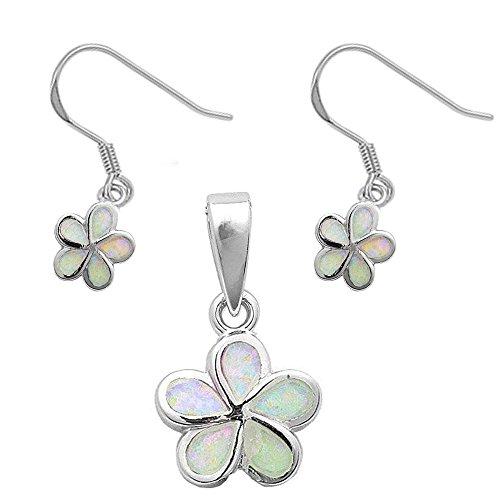 Lab Created Opal Plumeria Flower .925 Sterling Silver Earrings & Pendant Set (Lab Created White (Plumeria Flower Diamond Earrings)