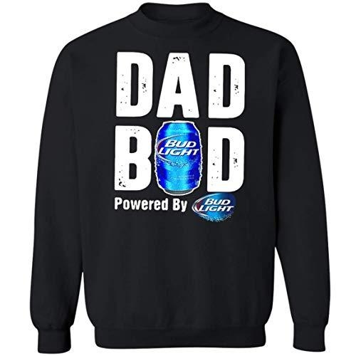 Dad BOD Powered by Bud Light T-Shirt Funny Love Beer Sweatshirt (XL,Black)