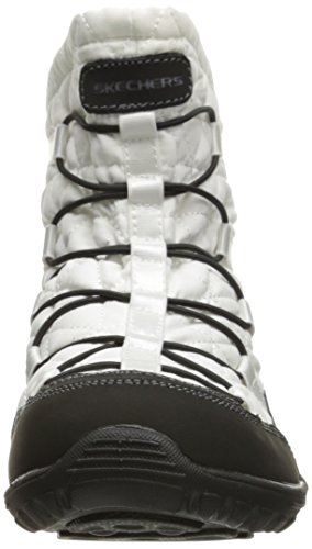 Skechers Mujeres Reggae Fest Steady Quilted Bungee Tobillo Bootie, Blanco / Negro