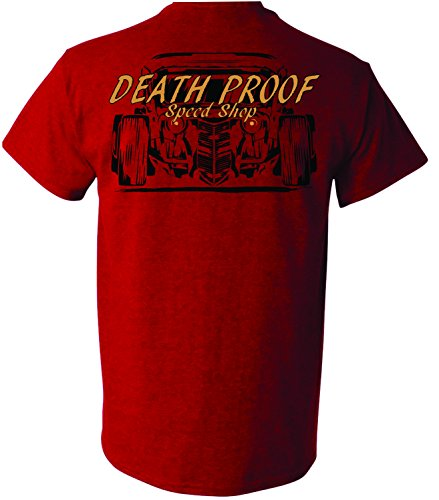 Death Proof Industries Speed Shop T-Shirt Tee (2X-Large, Cherry Red)