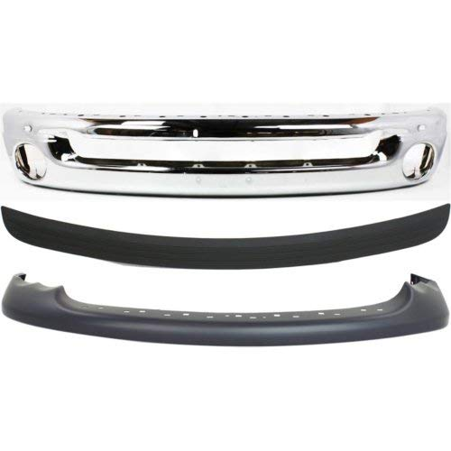 (Bumper Cover Kit Compatible with DODGE Full Size P/U 2002-2005 Front Set of 3 With Bumper and Bumper Trim with Sport Model New Body Style Type 2)