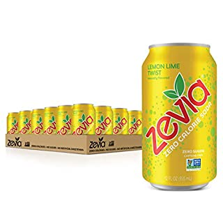 Zevia Zero Calorie Soda, Lemon Lime Twist, Naturally Sweetened Soda, (24) 12 Ounce Cans; Lemon Lime-flavored Carbonated Soda; Refreshing, Full of Flavor and Delicious Natural Sweetness with No Sugar