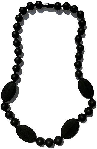 Nummy Beads Silicone Teething Necklace For Mom To Wear, BPA Free, Midnight (Black) (Noir Black Necklace)