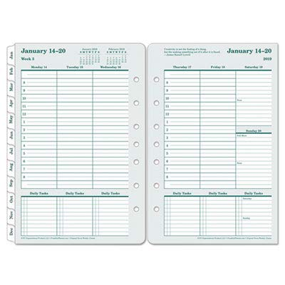 Franklin Covey Original Weekly Planner Refill, 5 1/2in. x 8 1/2in, 100% Recycled, January to December (2019), Weekly / Monthly Planner Refill