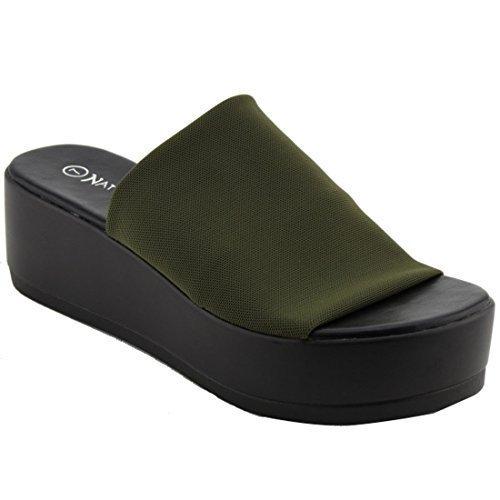 Nature Breeze Women's Stretchy Slip On Peep Toe Backless Platform Sandals (7, - Slip Ons Womens Breeze