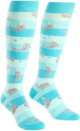 Sock It To Me, Unicorn of the Sea, Women's Knee-High Funky Socks, Narwhal ()