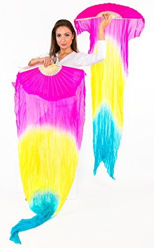 Professional Turkish Belly Dance Costumes (Belly Dance Silk Fan Veils 'Fire' Style - PAIR (Fuchsia Yellow Blue))