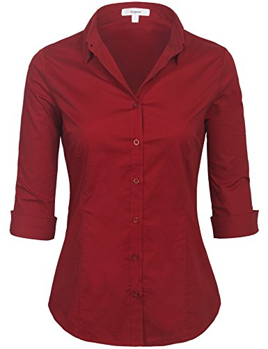 - KOGMO Womens Classic Solid 3/4 Sleeve Button Down Blouse Dress Shirt (S-3X)-L-Dark_Red