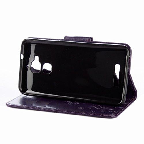 Yiizy Asus Zenfone 3 Max ZC520TL Custodia Cover, Fiori Sollievo Design Sottile Flip Portafoglio PU Pelle Cuoio Copertura Shell Case Slot Schede Cavalletto Stile Libro Bumper Protettivo Borsa (Porpora)