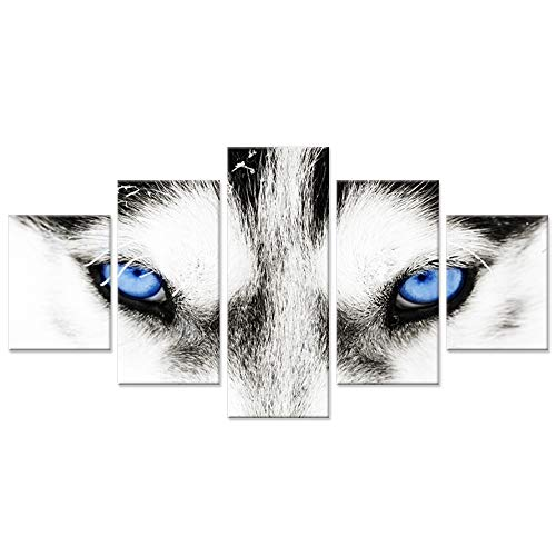 Hello Artwork - Large Canvas Wall Art Black and White Wolf Dog With Blue Eyes Poster Animal Face Head Series 5 Pieces Abstract Picture Painting Home Decor Wall (Wolf Art Wall Decor)