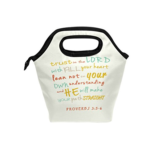 Abbylife Bible Verse Quotes Trust In the Lord With All Your Heart Insulated Lunch Bag Reusable Tote Bag Cooler Lunchbox